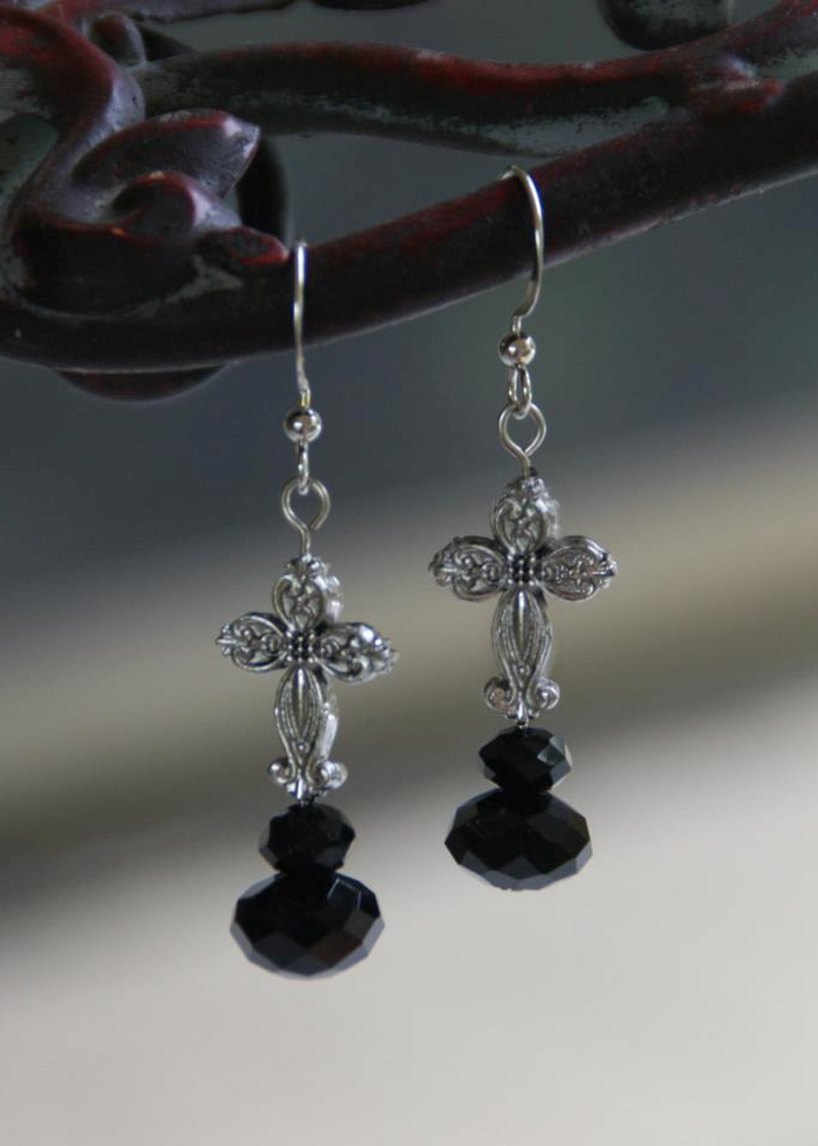 IN-704 Jet Crystal Cross Earrings