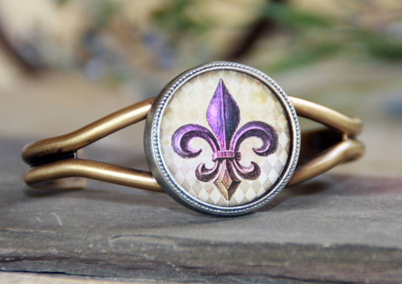 ART-122 Purple & Gold Fleur de Lis ART Cuff Bracelet