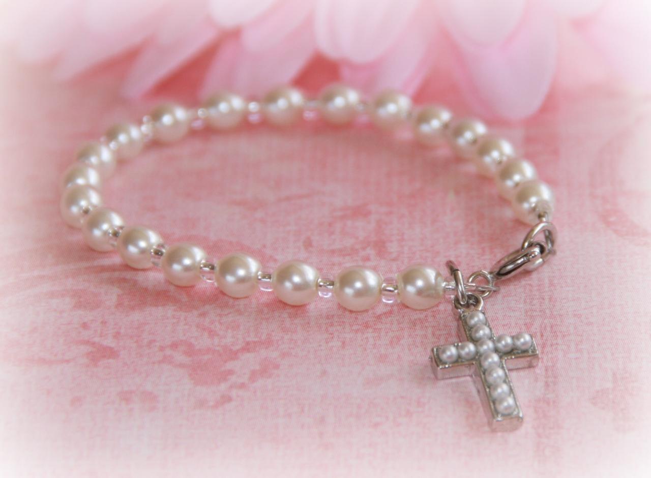 """CJ-358-6 Child Seed Pearl Cross Bracelet 6"""""""