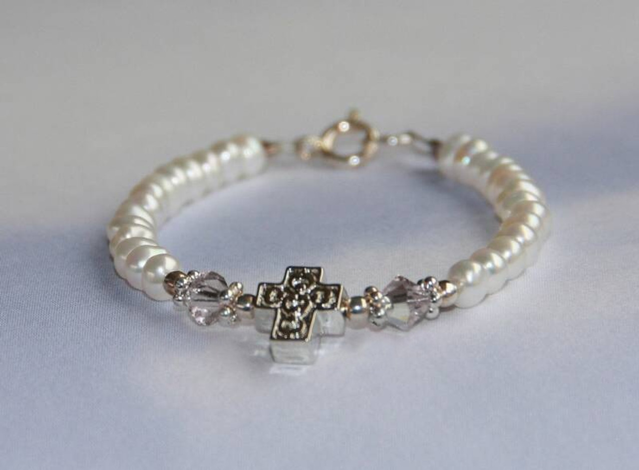 """STG-151-6 Child Freshwater Pearls Crystals AB and Cross Bracelet 6"""""""