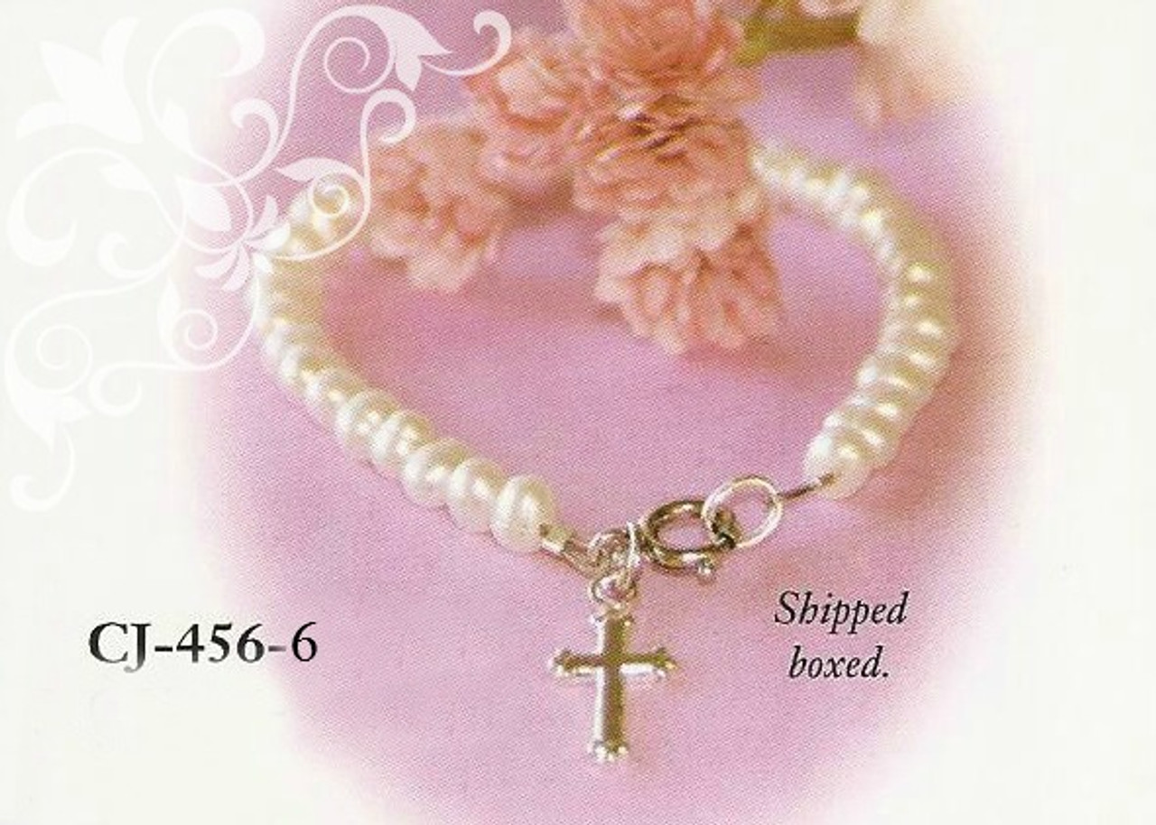 CJ-456-6 Child Freshwater Pearl Bracelet with Rhodium Cross 6""