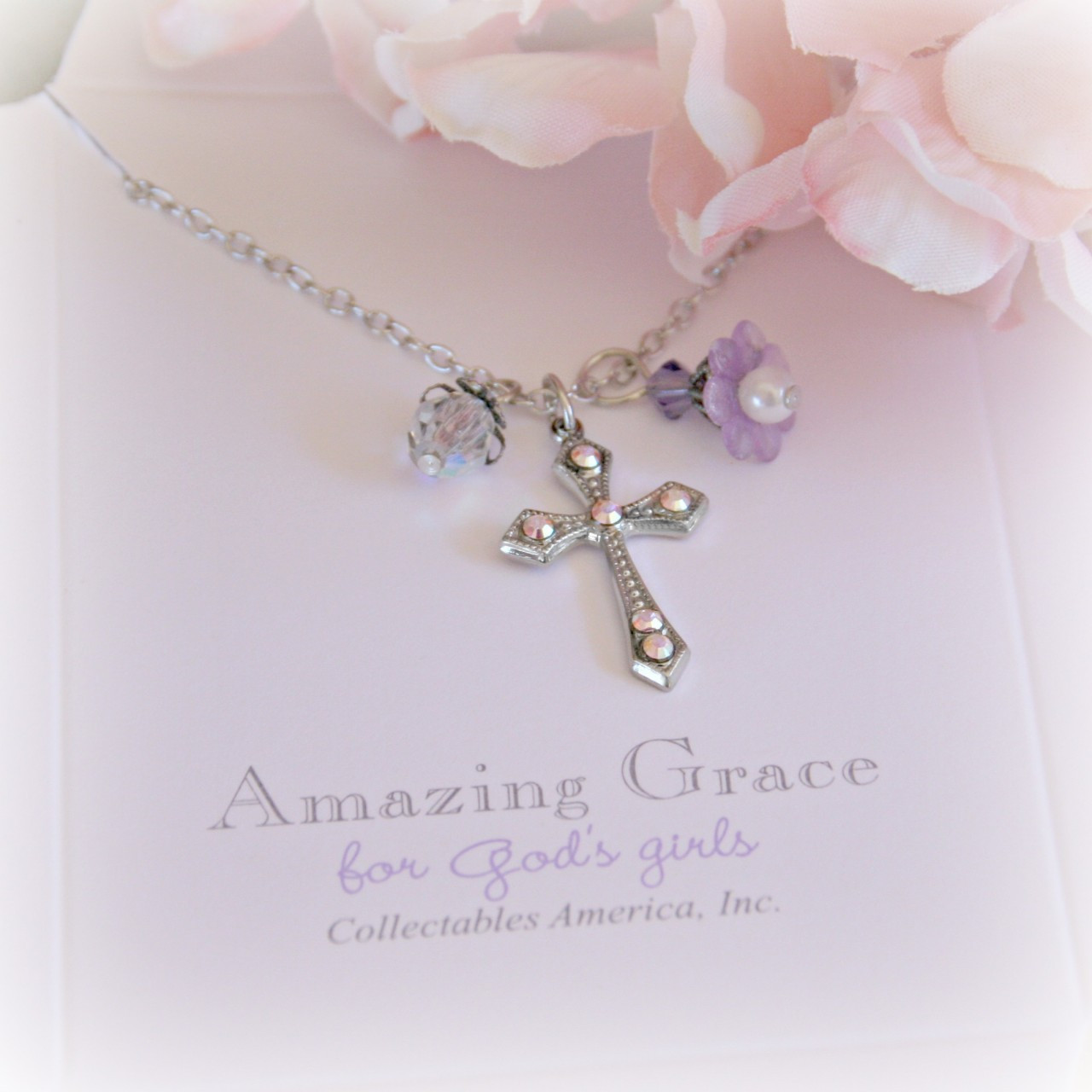 GG-12  Amazing Grace Crystal AB cross and flower
