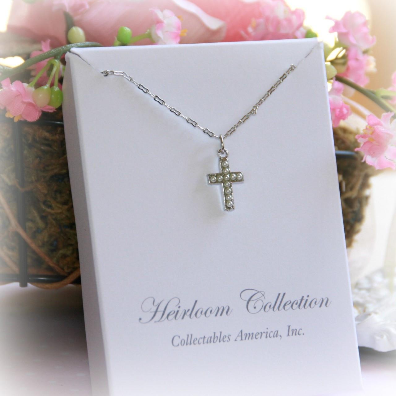 RH-18  Rhodium Seed Pearl Cross Necklace