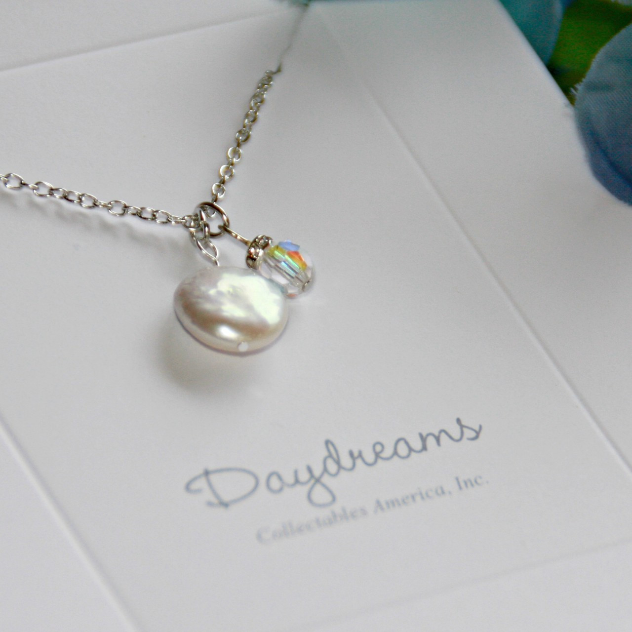 DD-14  Freshwater Coin pearl and Swarovski Necklace Daydreams Collection