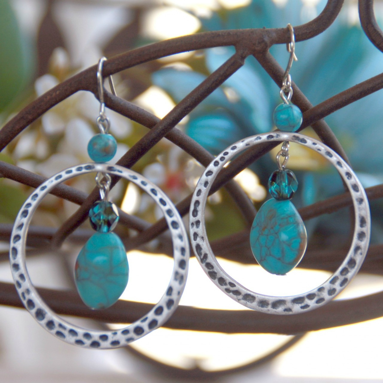 FER-61  Fabulous Faux Turquoise Earrings