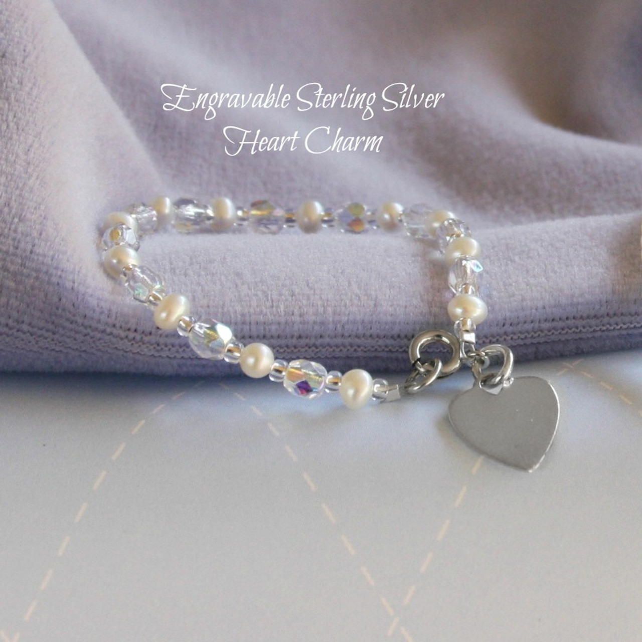 """STG-250  Engraveable Sterling Silver Freshwater Pearl and Crystals Bracelet 5"""""""