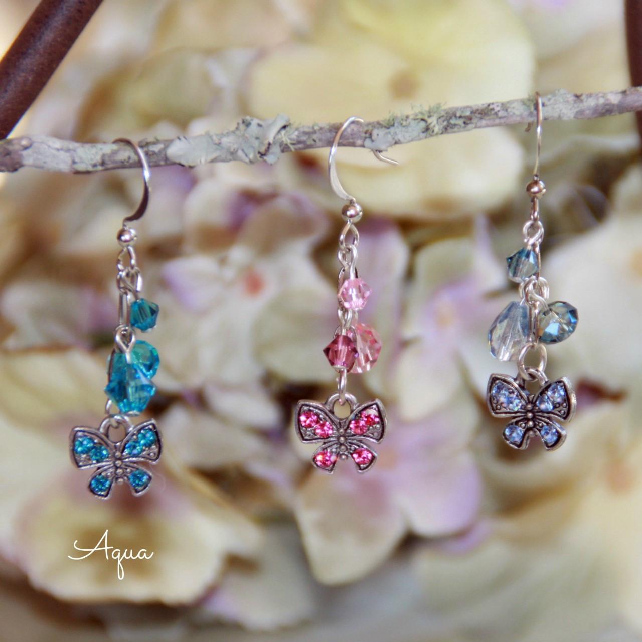 AER-27 Butterfly Crystal Earrings Aqua Swarovski
