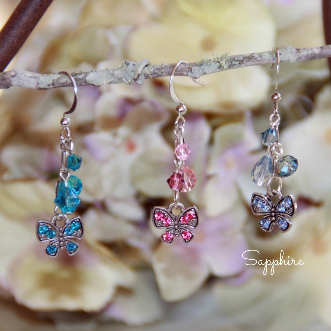 AER-25 Butterfly Crystal Earrings Sapphire Swarovski