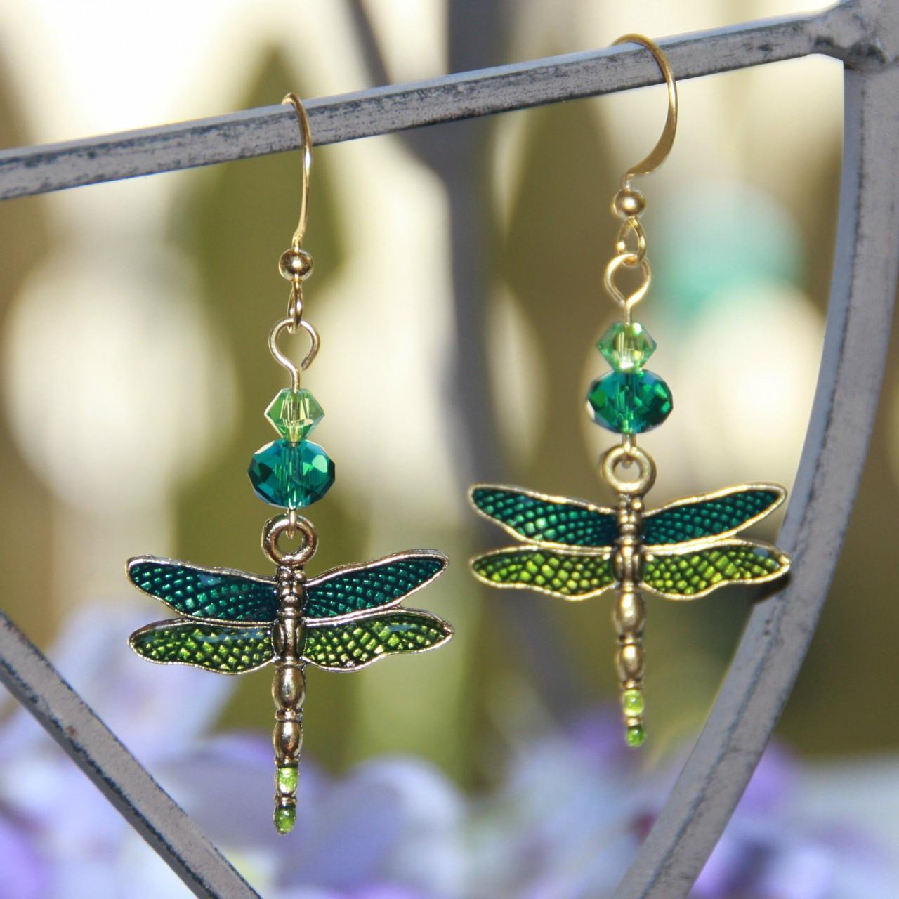 AER-20 Enamel Dragonfly Earrings