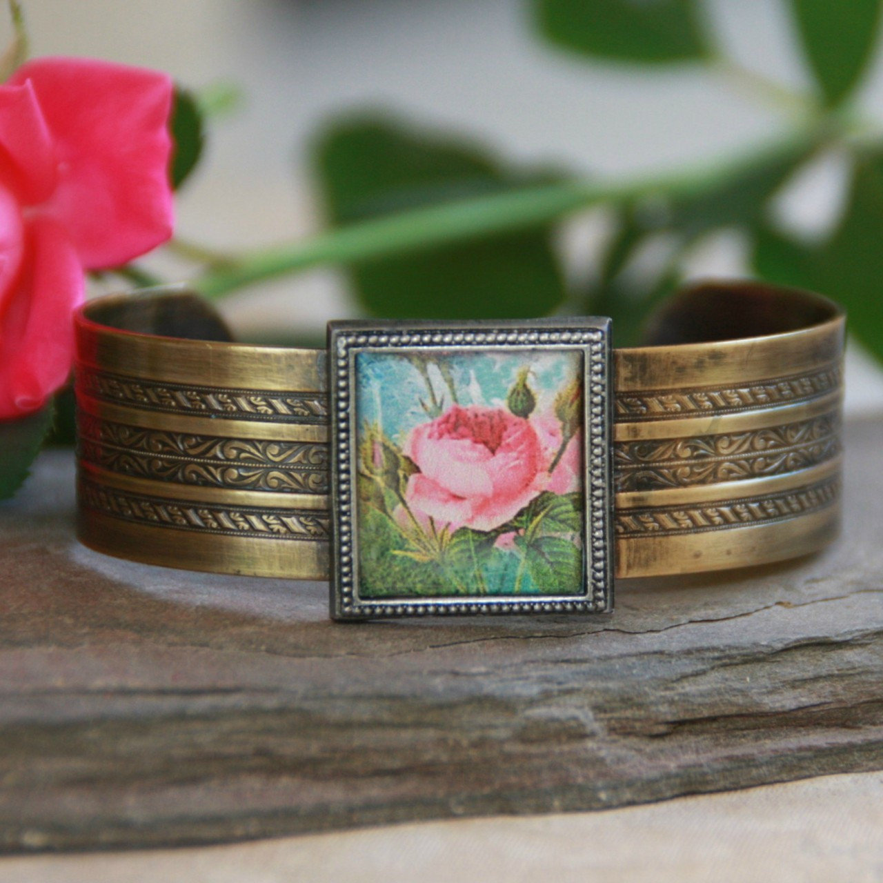 ART-112 Vintage Rose Cuff Bracelet