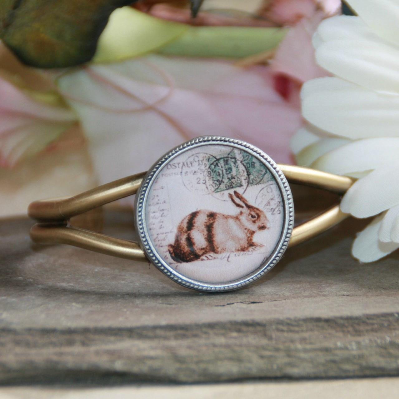 ART-126 Love the Bunny Vintage Style Cuff Bracelet