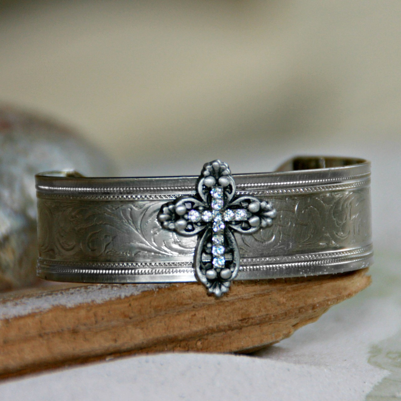 ART-132 Cross with Swarovski Crystals Cuff Bracelet