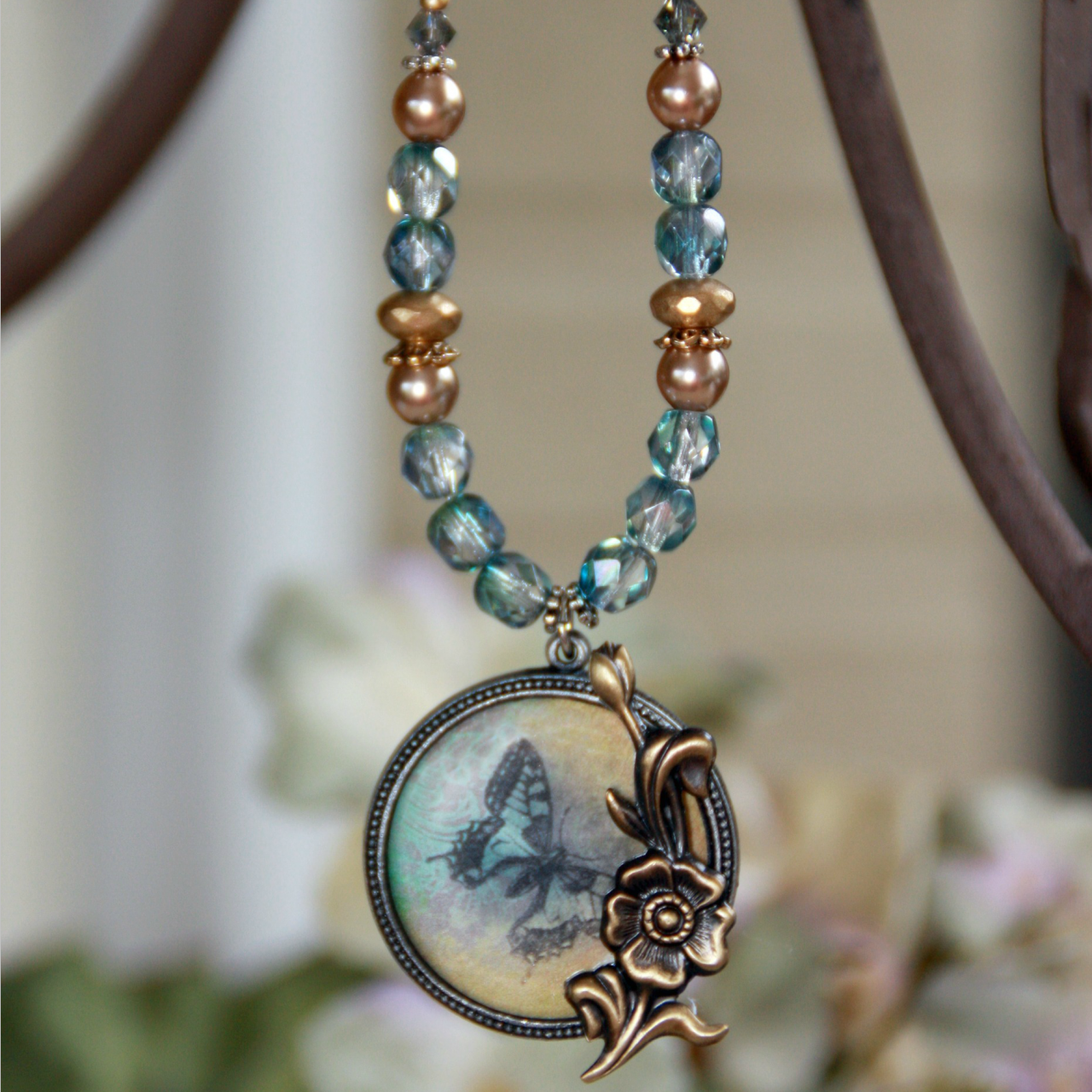 ART-213 Butterfly and Floral ART Collection Necklace
