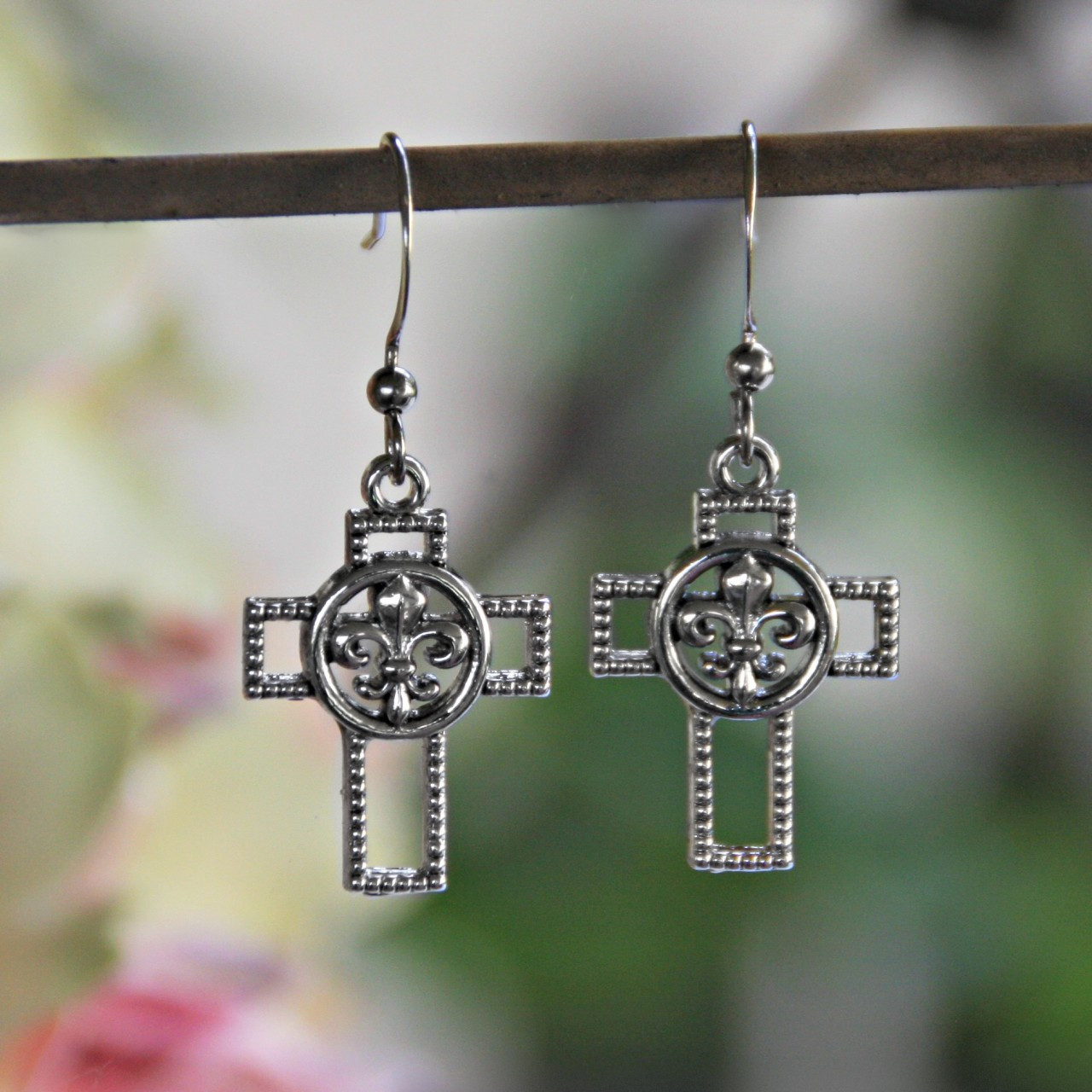 IN-30 Fleur De Lis Cross Earrings with Rhodium finish