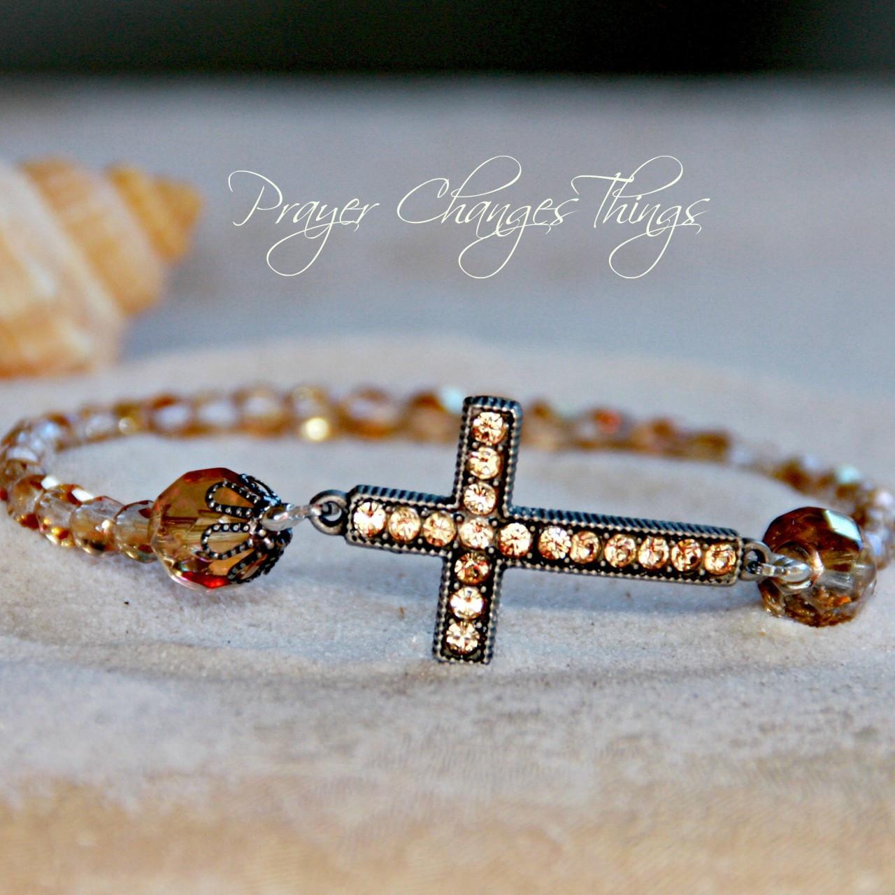 IN-101 Light Colorado Topaz Jeweled Cross Bracelet