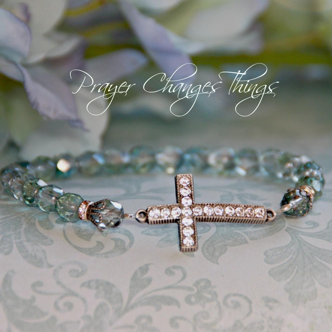 IN-104 Aquamarine Jeweled Cross Bracelet