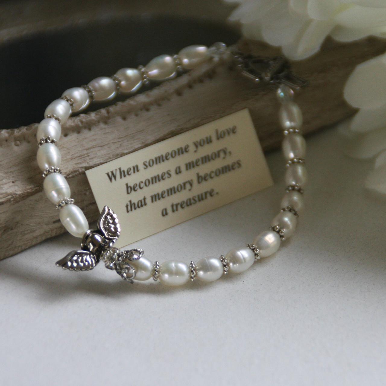 IN-227 Memory Freshwater Pearl Bracelet with Angel
