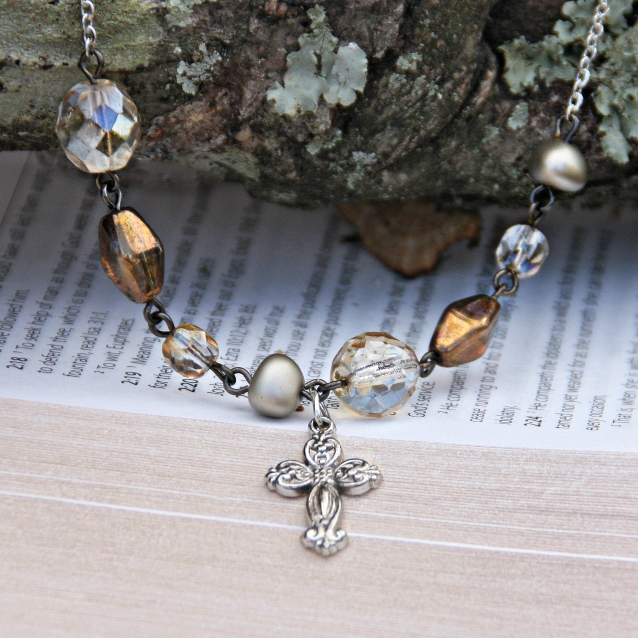 IN-503 Elegant Beaded Cross Necklace