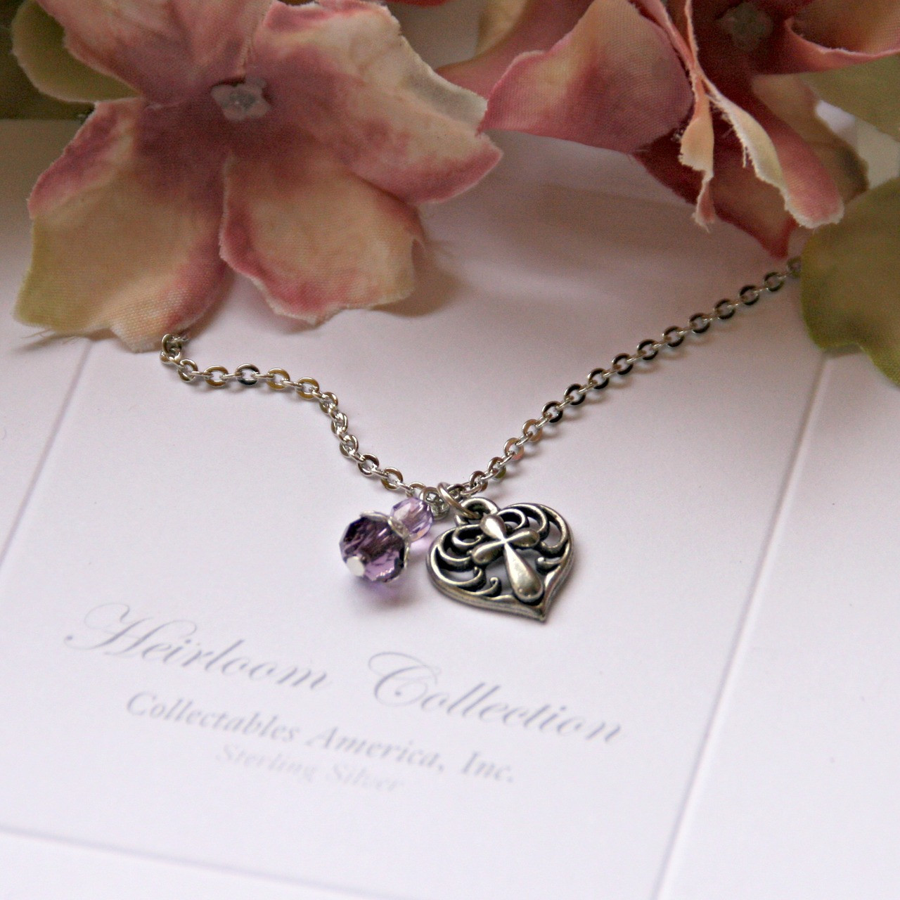 GG-36 Amazing Grace Heart with Cross and Crystal Charm Necklace