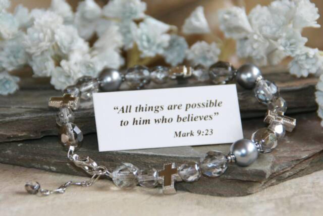 IN-207 Christian bracelet silver/grey