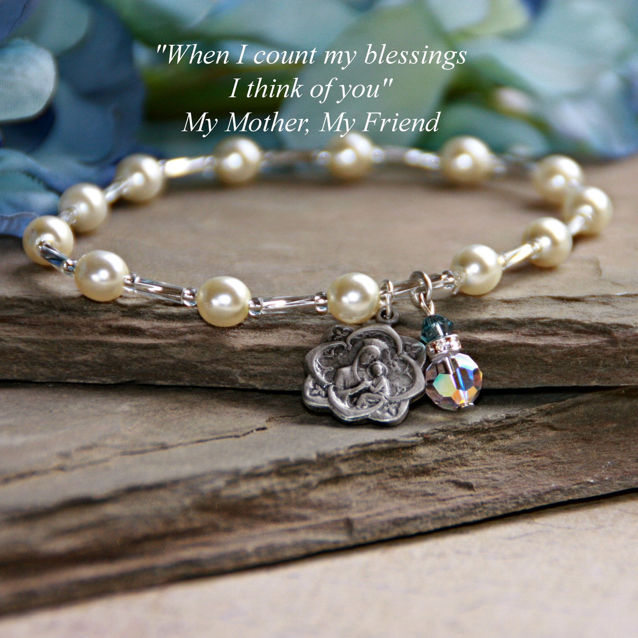 IN-135B  Mother Bracelet with Madonna Medal