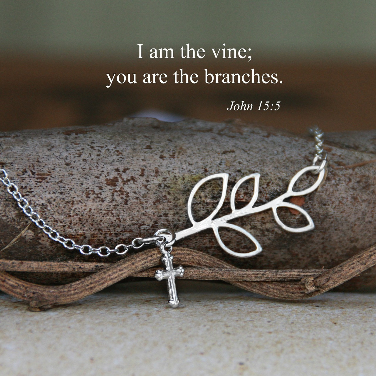 IN-522S  I am the Vine...Silver Finish Necklace