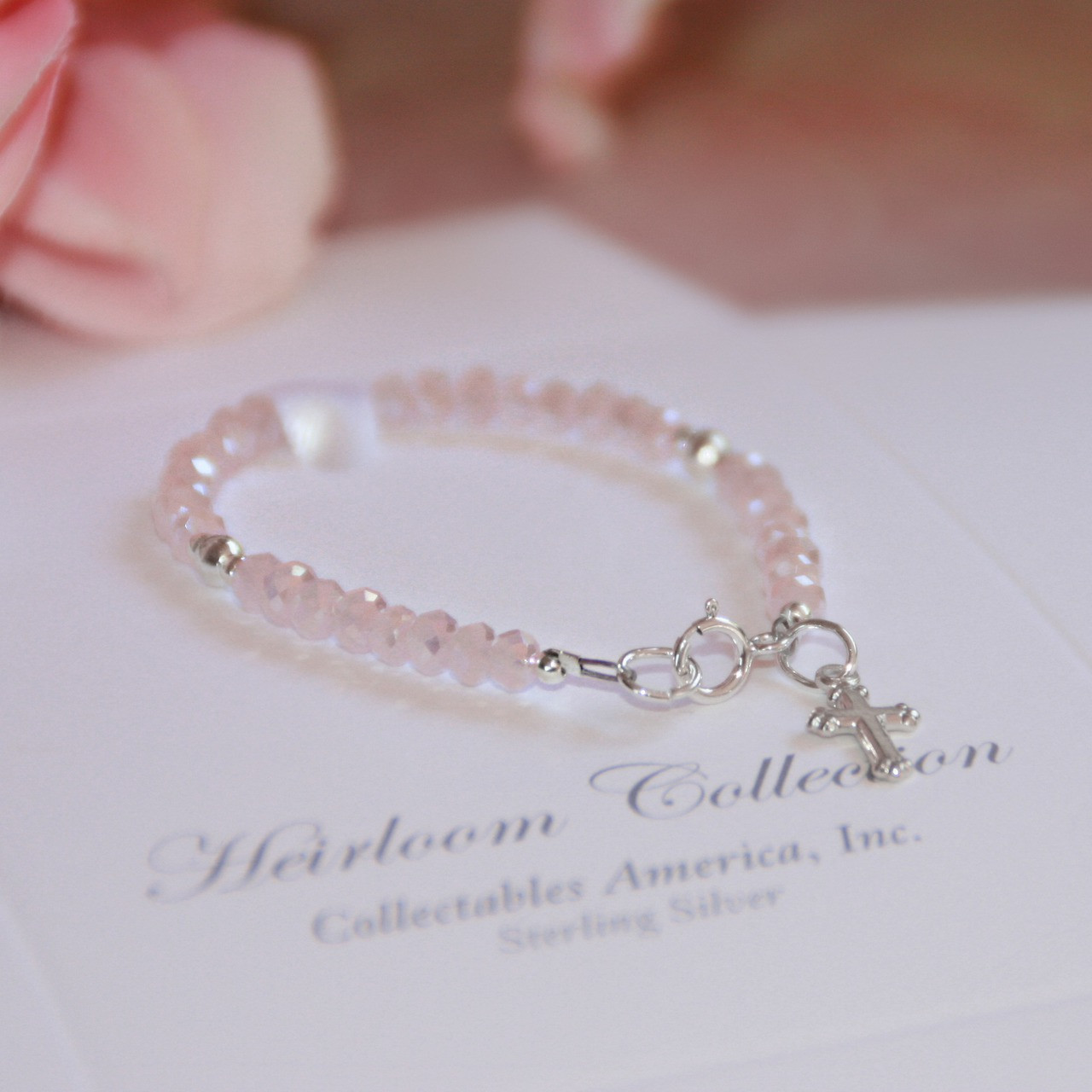 """STG-23CR  Infant Matte Pink Crystals and Sterling Silver Cross 41/2"""""""