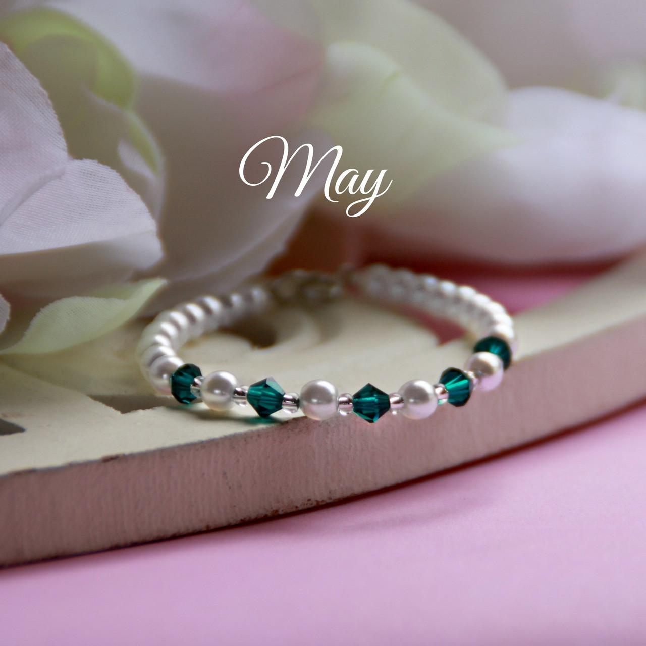 "CJ-133  May Birthstone Bracelet 5"""