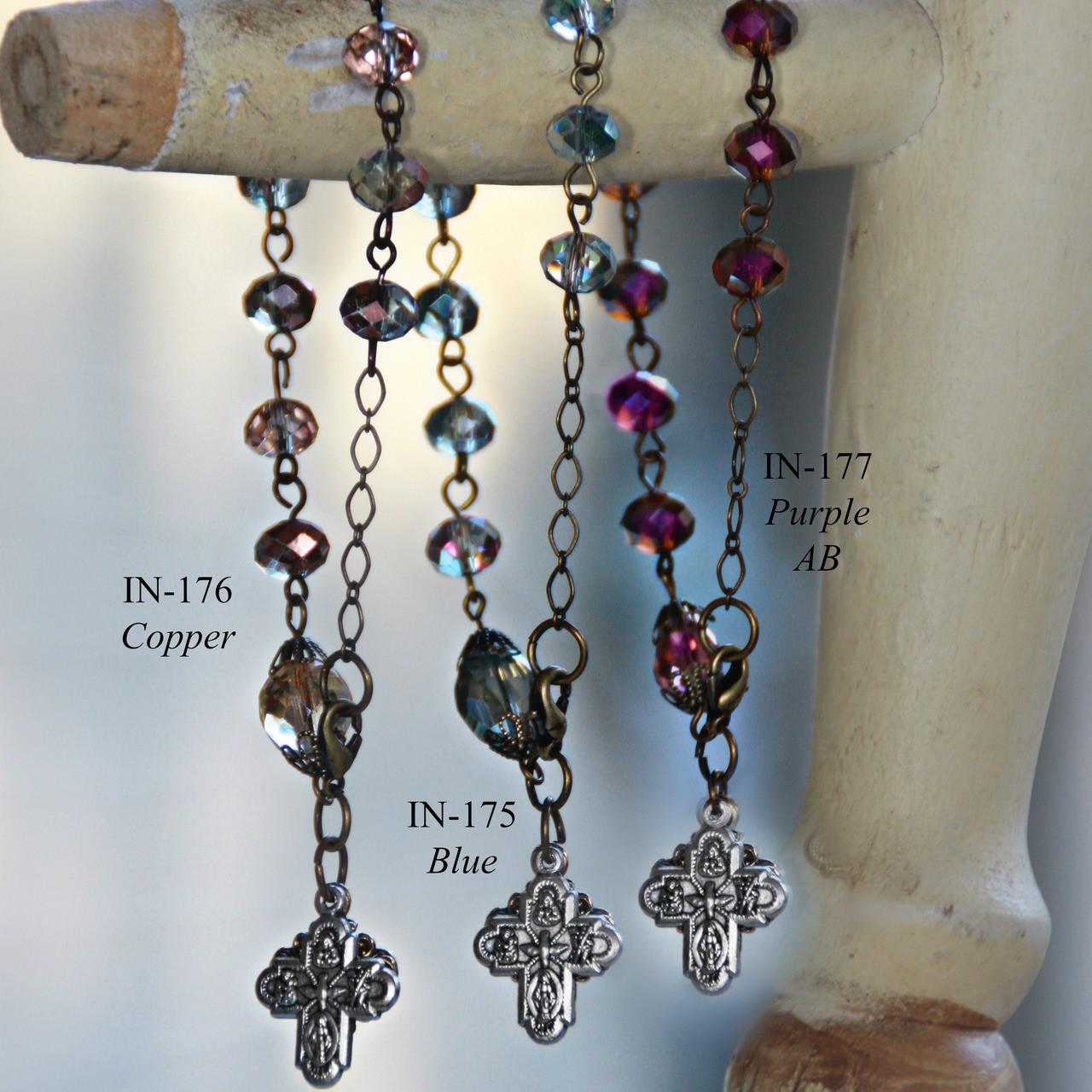 IN-175 Gorgeous Blues Rosary Bracelet