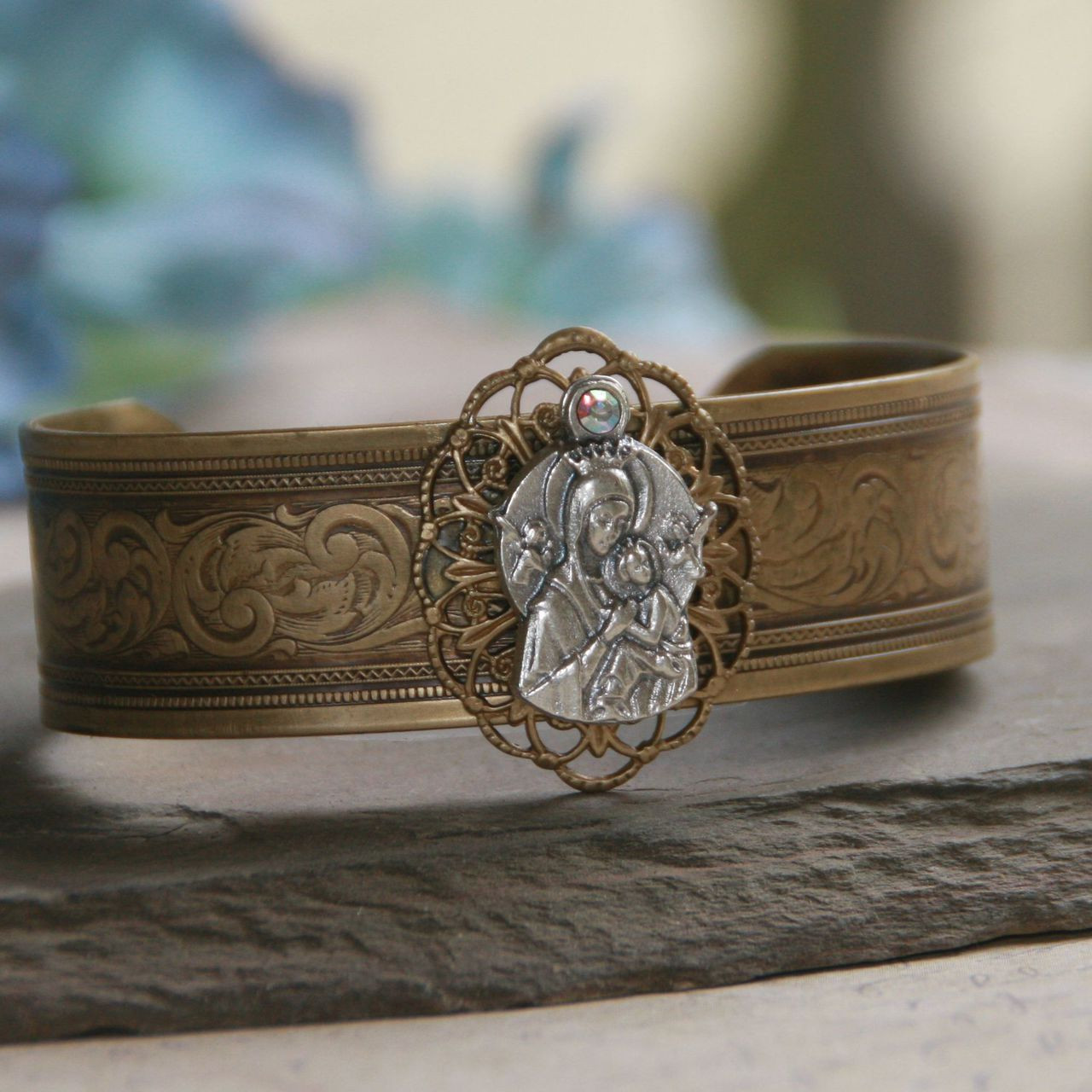 ART-138  Vintage Style Cuff Bracelet with Our Lady of Perpetual Help