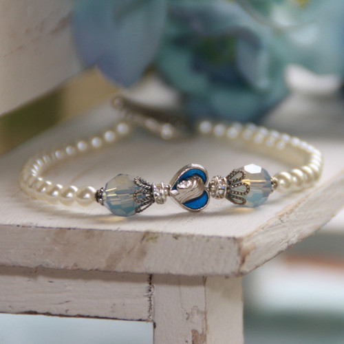 IN-178  Mary Pearl and Blue Opal Crystals Bracelet