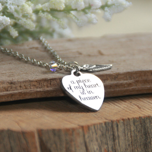 IN-552  A piece of my heart is in Heaven Necklace