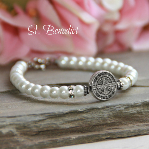 "CJ-514  St. Benedict Pearl Bracelet 5"" for Baby"