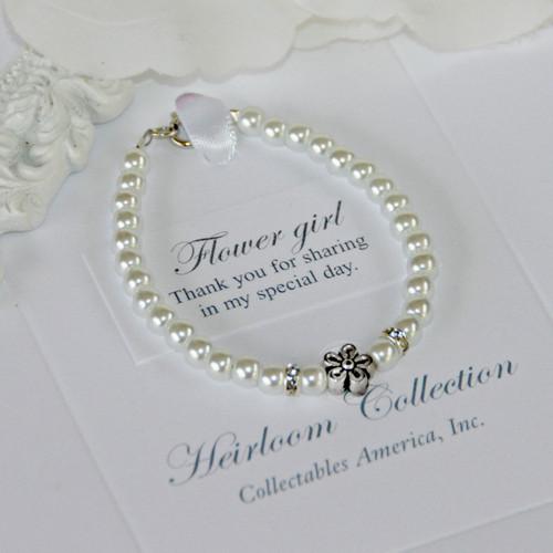 """CJ-530-5  Flower Girls Pearl Bracelet 5"""""""