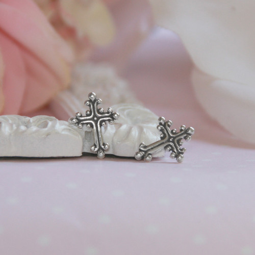 STG-142 Sterling Silver Cross Earrings
