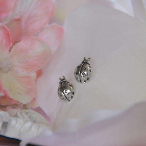 STG-143  Ladybug Post Earrings Sterling Silver