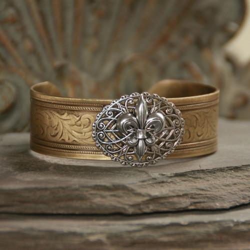 ART-155  Fleur de Lis Cuff Bracelet