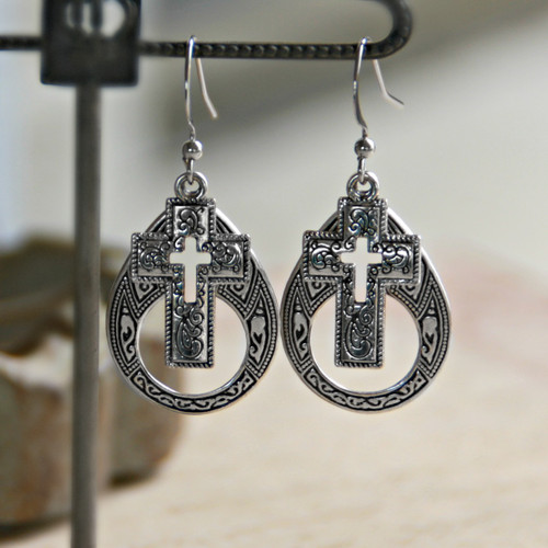 IN-71  Open Cross Dangle Earrings