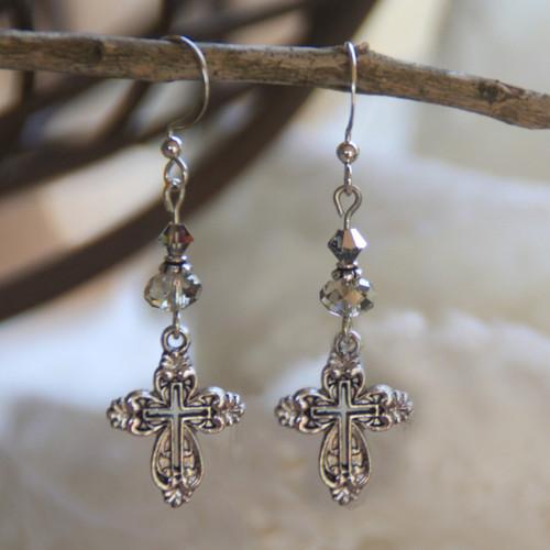 IN-708 Swarovski Cross Earrings