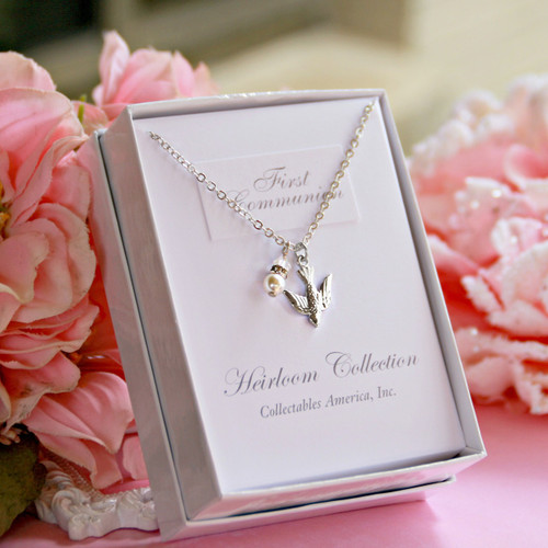 CJ-548  Dove and Pearl First Communion Necklace
