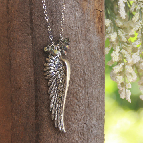 IS-27N  Wing and Oodles of Swarovski Crystals Necklace