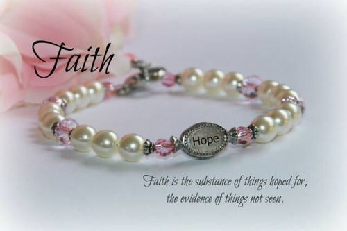 IN-356 Hope Bracelet Pearls and Pink Crystals