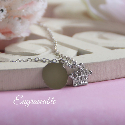 EG-9  Engraveable Stainless Disk with Crown Necklace