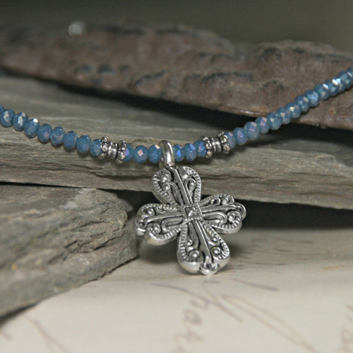 IS-33INBL  Indigo Blue Beaded Crystal Cross Necklace