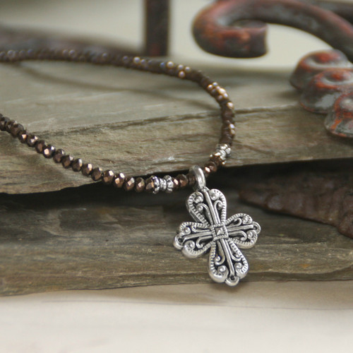 IS-33BRN  Elegant Brown Crystal Beaded Cross Necklace