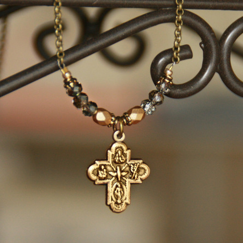 IN-563  Vintage Gold and Crystals Four Way Catholic Medal Necklace