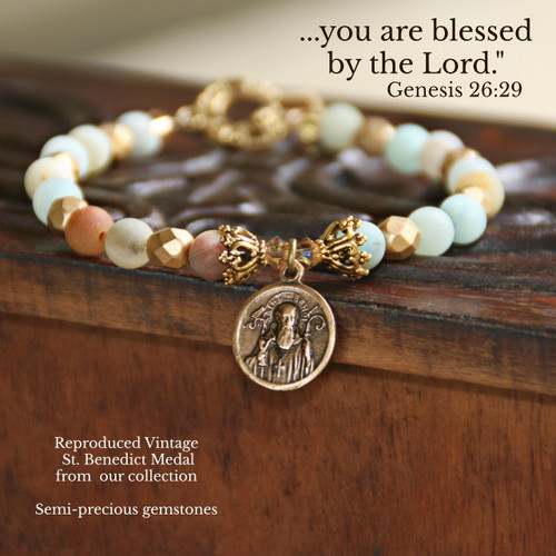 "IN-384  St. Benedict ""Vintage"" Medal from Belgium Gorgeous Bracelet of Precious Gemstones"