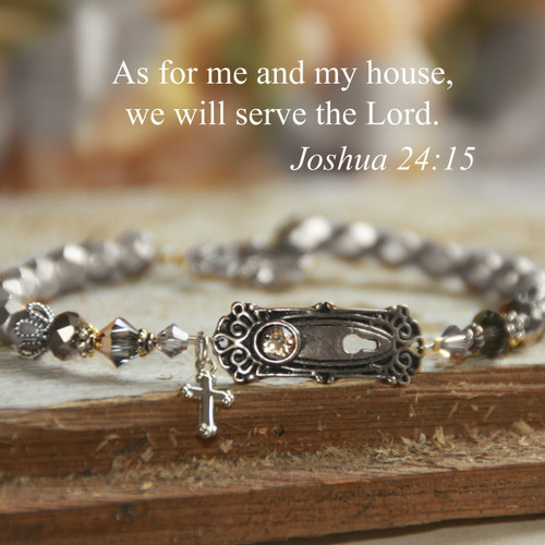 IN-393  As for Me and My House we will serve the Lord Silver Bracelet