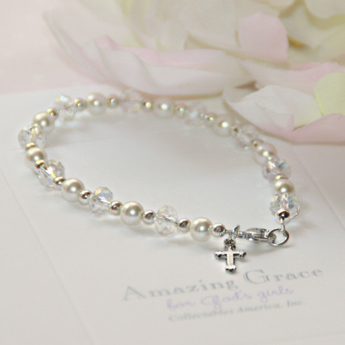 """GG-41  Crystals AB and Glass Pearls 6 1/2"""" Tween Bracelet"""