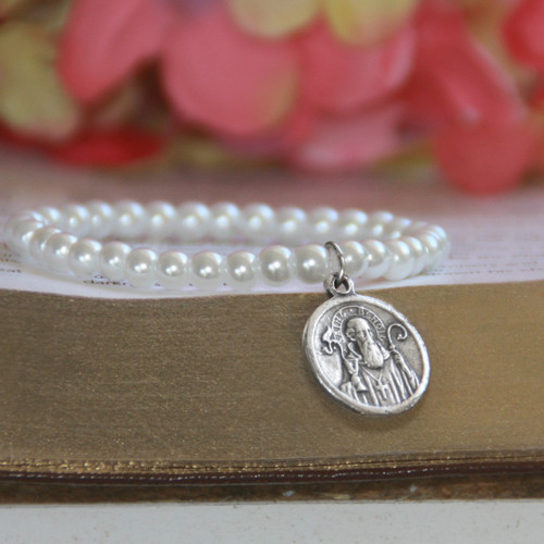 "RH-62-6  Glass Pearls Stretchy 6"" bracelet with Vintage St. Benedict Medal in Rhodium for Child"